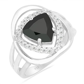 BLACK ONYX SILVER RING WITH WHITE ZIRCON