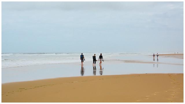 Enjoying a walk at low tide