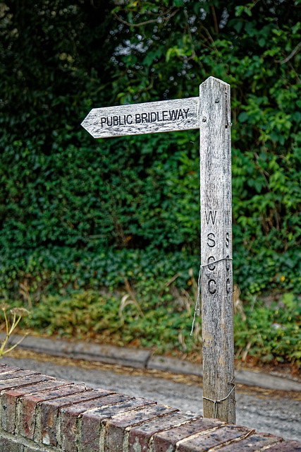 Bridleway to Sedgwick fingerpost at Nuthurst, West Sussex