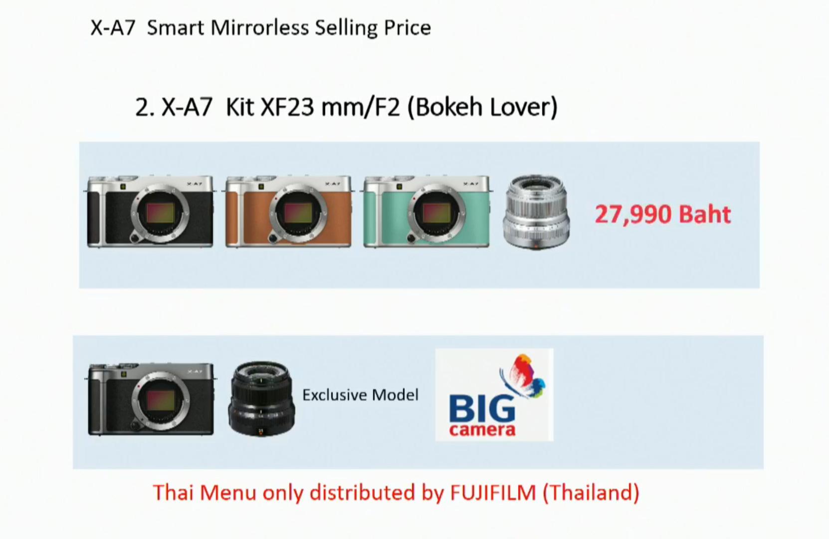 ราคากล้อง Fujifilm X-A7
