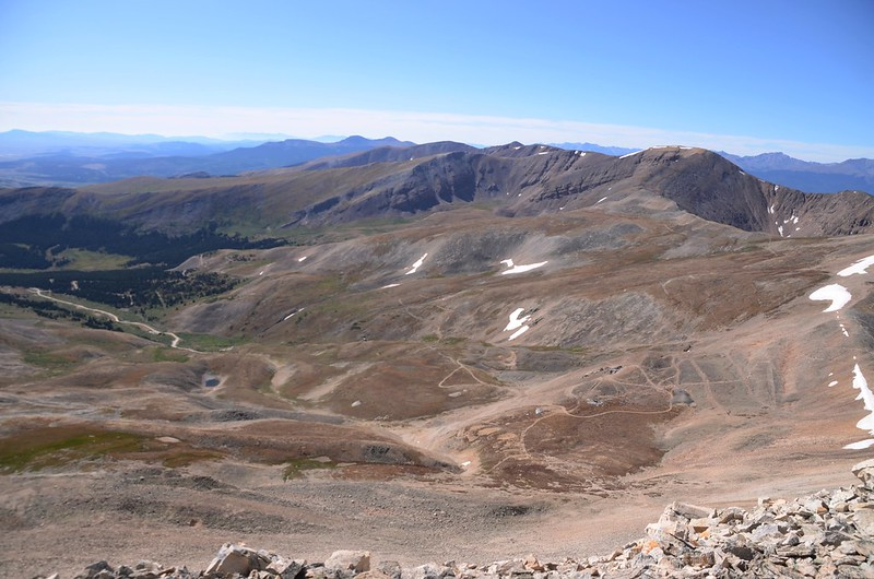 Looking southt at Mountains from Mount Sherman's southwest ridge near 13,820 ft