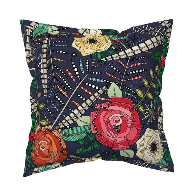 boho winter floral midnight serama throw pillow