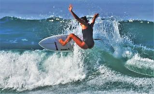 Surfer overcomes the waves, Oceanside CA