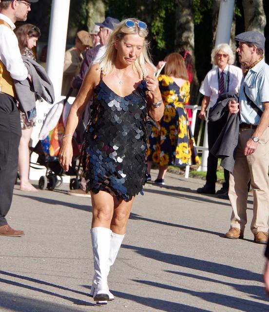 White Boots, Black Dress
