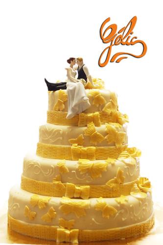 Wedding Cake noeuds dorés