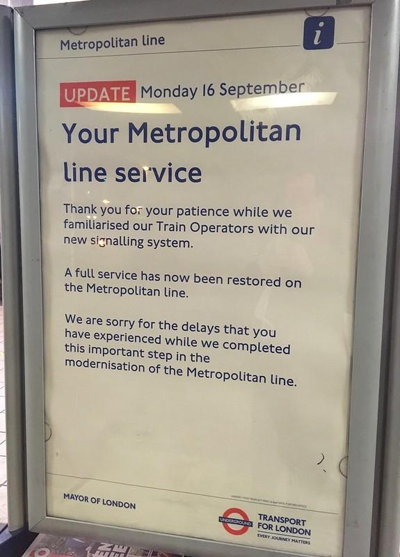 Your Metropolitan Line service