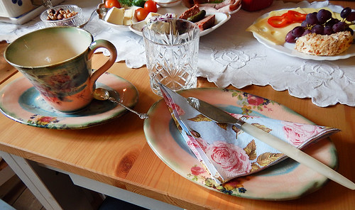 Wonderful chinaware for our Helsinge B&B breakfast, Denmark