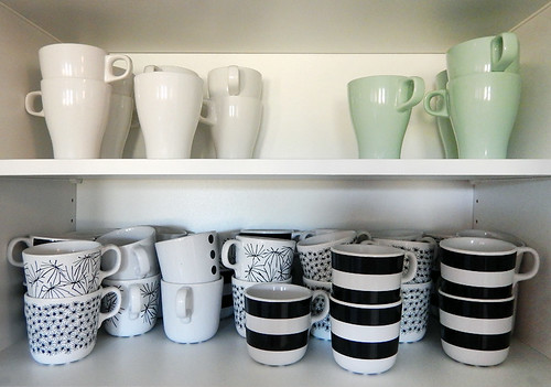 A variety of Scandanavian-designed cups in our Falkenberg B&B kitchen, Sweden
