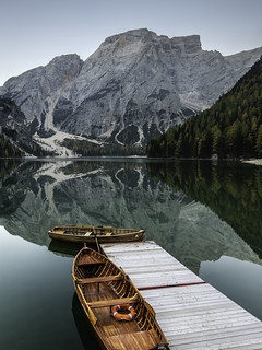 Row boats on Lago Di Braies, Italy, Dolomites