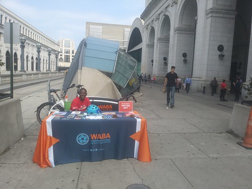 Washington Area Bicyclists Association outreach table at Union Station