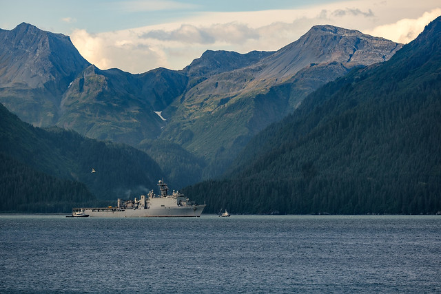 SEWARD, Alaska (Sept. 16, 2019) The dock landing ship USS Comstock (LSD 45) pulls into Seward during the Arctic Expeditionary Capabilities Exercise (AECE) 2019. Approximately 3,000 U.S. Navy and Marine Corps personnel participate in AECE 2019, a joint training exercise that tests expeditionary logistical capabilities in the Arctic region and prepares joint forces to respond to crises across the Indo-Pacific. (U.S. Navy photo by Senior Chief Mass Communication Specialist Brandon Raile)