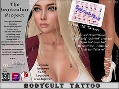 BodyCult Tattoo 'The Semicolon Project' *15 Locations Special Hud