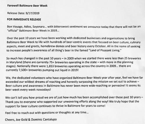 Baltimore Beer Week to end