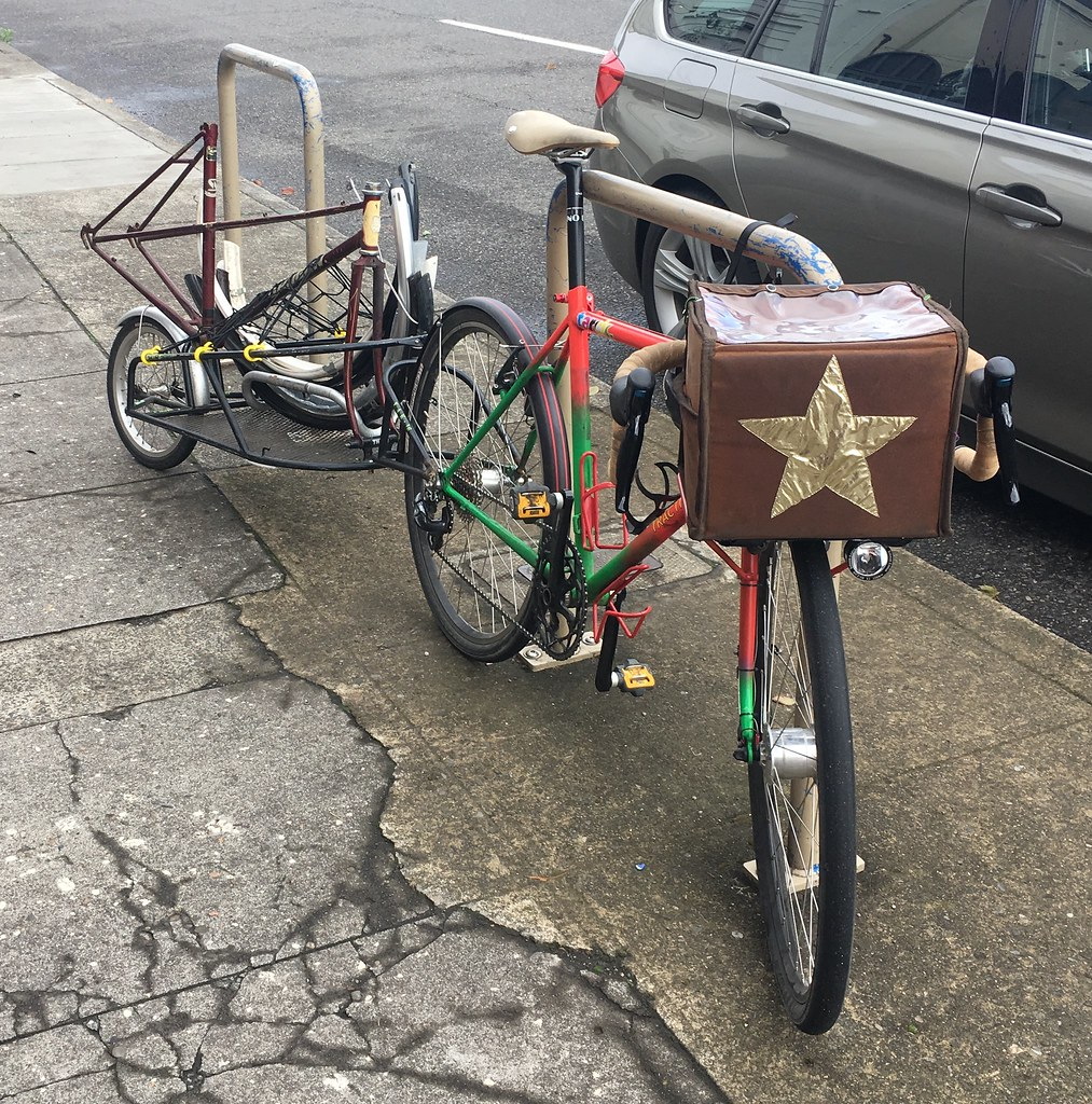 Picking up a mixte frame for repair, plus some fenders from a free pile