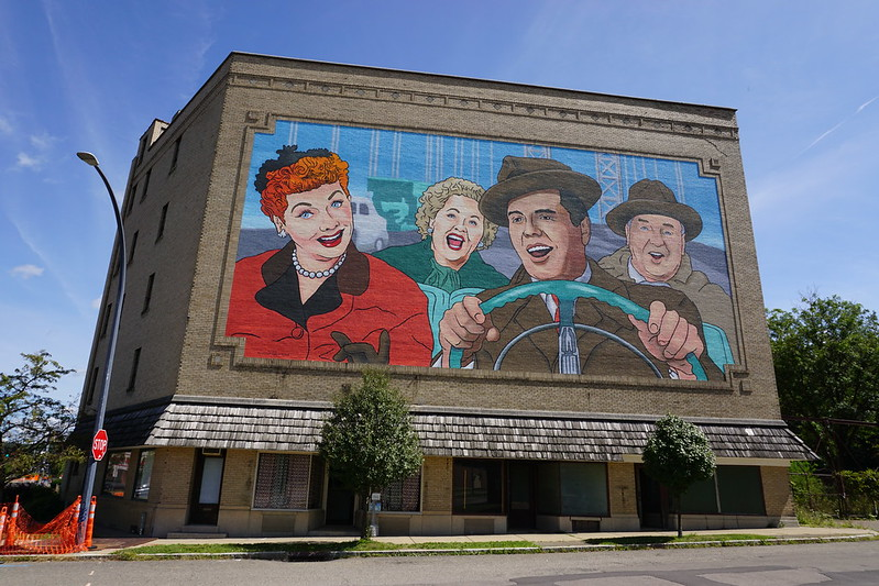 """World's Largest I Love Lucy Mural """"California, Here We Come,""""in Jamestown, N.Y., Aug. 2019"""
