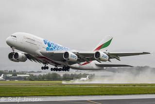 A6-EDC Airbus A380 Emirates Glasgow airport EGPF 27.07-19