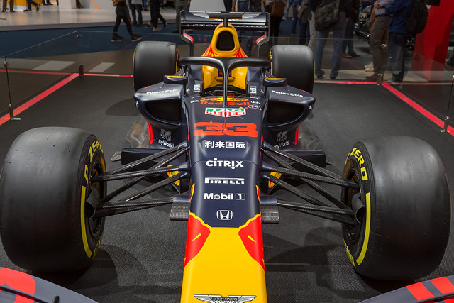Close-up of Formula-1 racing car Red Bull Racing RB15 by Honda