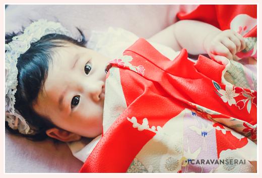 100日祝い 女の子赤ちゃん 赤い産着