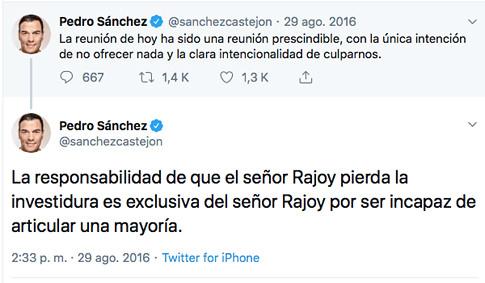 16h29 Pedro Sánchez sobre Mariano Rajoy