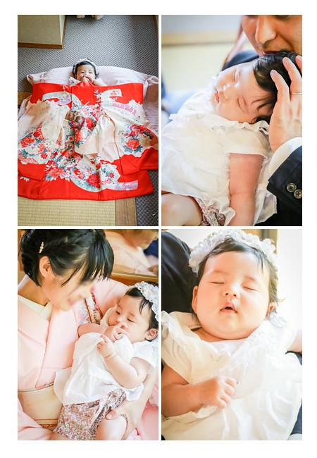 100日祝いの途中で眠りに入る赤ちゃん 赤い産着