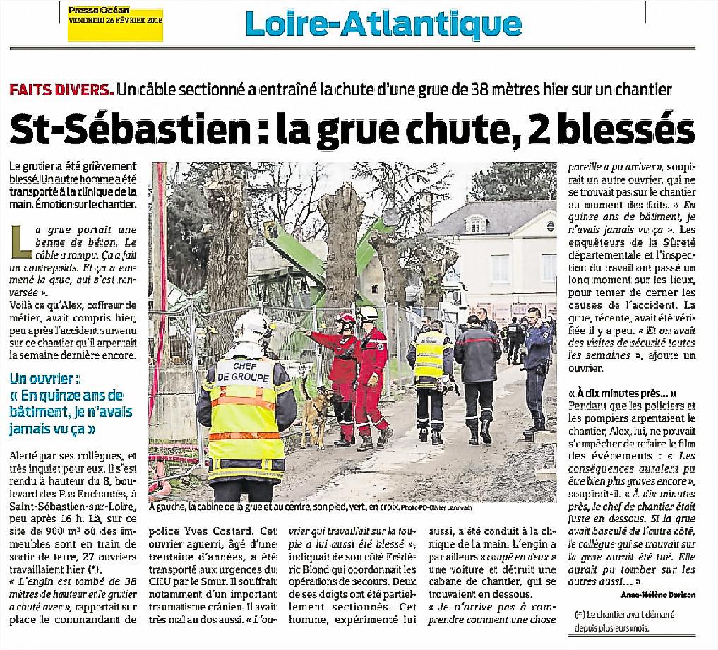Fait Divers Saint Sebastien Sur Loire saint-sébastien. il y a trois ans, la grue s'était effondrée