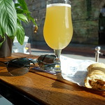 Time & Tide Sratwaffler Session IPA with Vegan Sausage Roll at The Orchard bar in Preston Market
