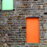 Orange door and green window
