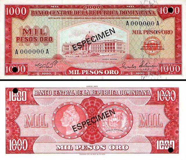 1000 Pesos Oro Dominikánska republika 1975 P115a-s