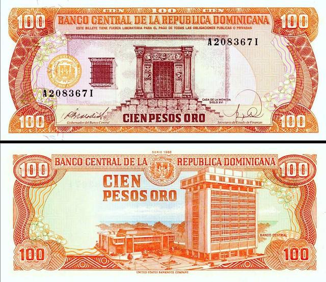 100 Pesos Oro Dominikánska republika 1988 P128a