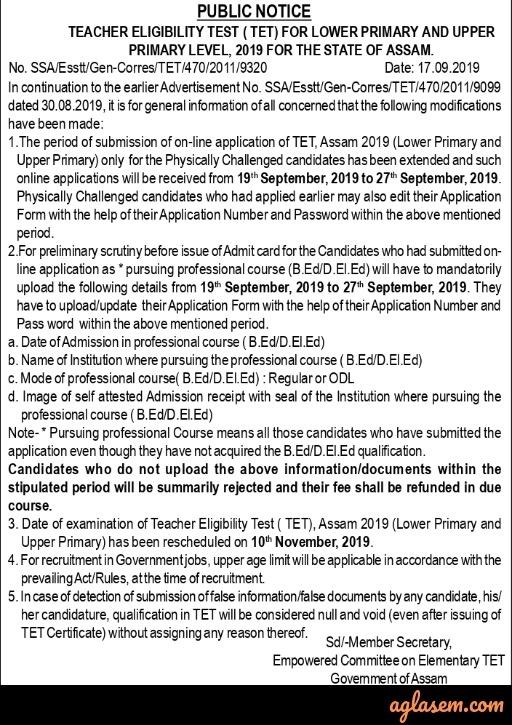 Reopening of assam TET application