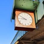 Wooden railway clock
