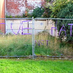 Love not Hate - ribbon 'graffiti' on Church Street, Preston