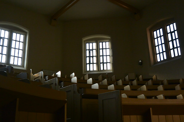 windows in a prison chapel