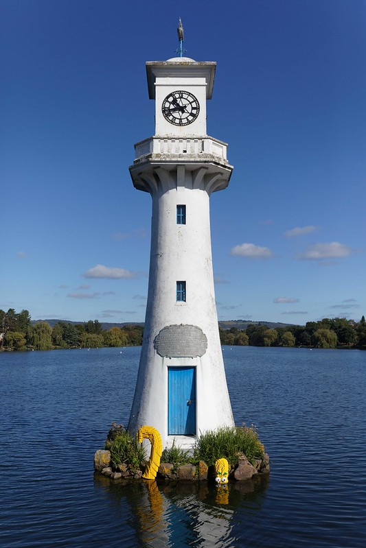 To launch the new brand campaign from LEGO, an octopus has been installed by the lighthouse in the Roath Park lake in Cardiff, Wales, UK