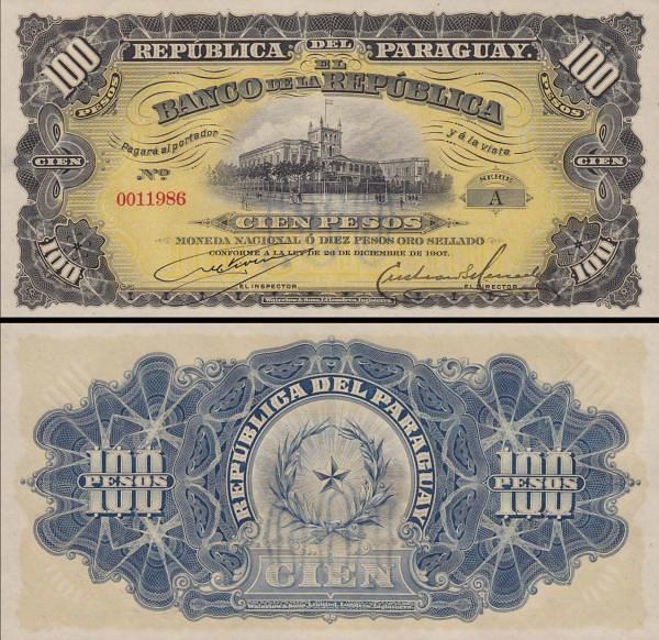 100 Pesos Paraguaj 1907, P159