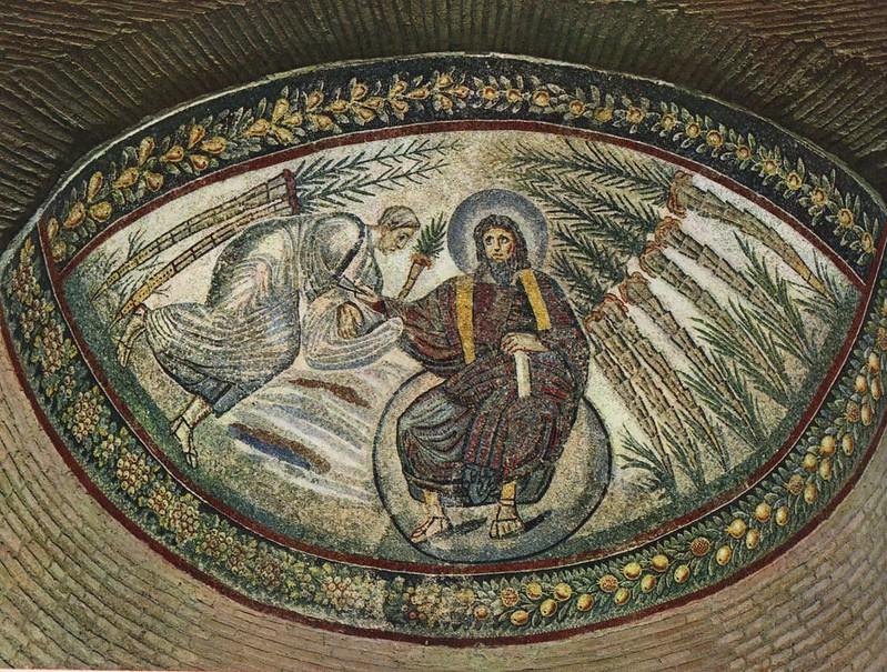 10 Мозаика мавзолея св Констанции Хс вручает закон Моисею