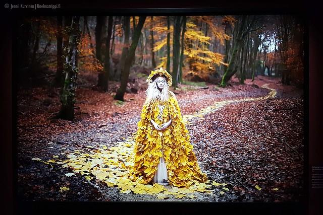 Nainen syysmetsässä Kirsty Mitchellin Wonderland-näyttelyssä