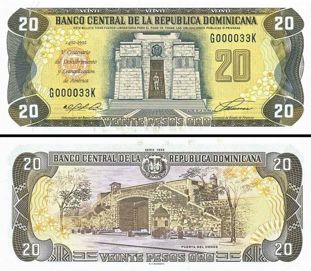 20 Pesos Oro Dominikánska republika 1992 P139