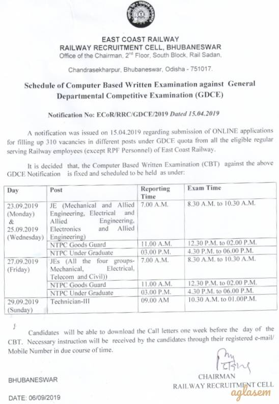RRCBBS GDCE Admit Card 2019 released at rrcecor.cbtexam.in login for JE, NTPC