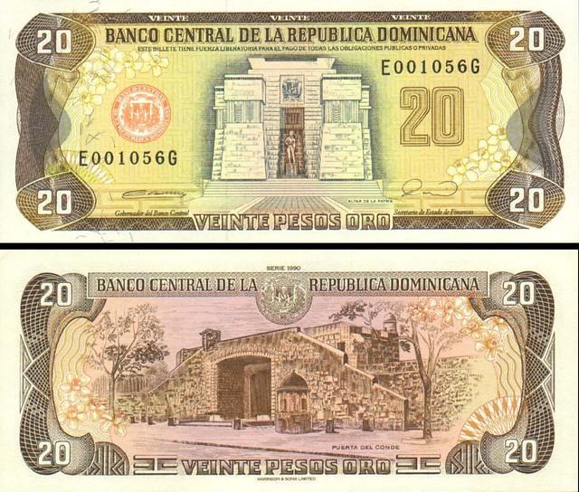 20 Pesos Oro Dominikánska republika 1990 P133