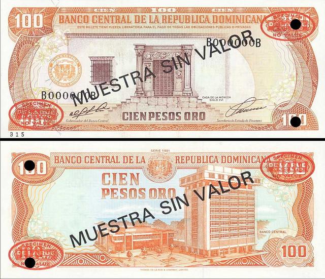 100 Pesos Oro Dominikánska republika 1991 P136a-s MUESTRA