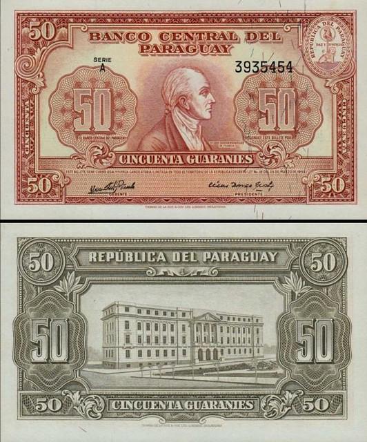 50 Guaranies Paraguaj 1952, P188b
