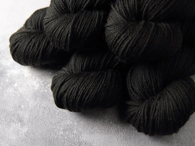 Dynamite DK pure British wool hand dyed yarn 100g – 'Black, Like My Soul'