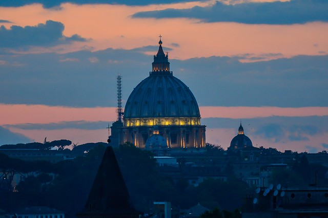The magnificent dome of St. Peter's at twilight