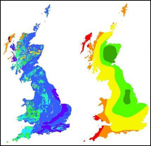 Two maps, the first shows strontium values across Britain and the 2nd shows oxygen values across Britain