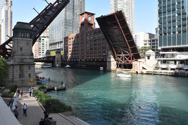 Bridge Lift Day- Chicago River, Chicago, IL USA