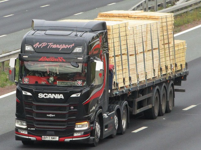 A+P Transport (The Punisher) Scania R450 (BP17NMY) On The A1M Southbound