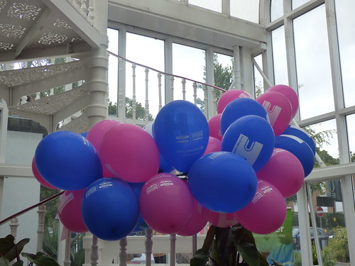 Birmingham Botanical Gardens: Heritage Open Day for Birmingham Heritage Week - balloons on the spiral staircase