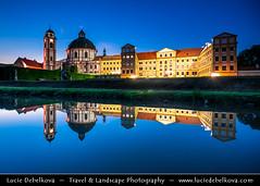 Czech Republic - Jaromerice nad Rokytnou Chateau at Dusk - Twilight - Blue Hour - Night