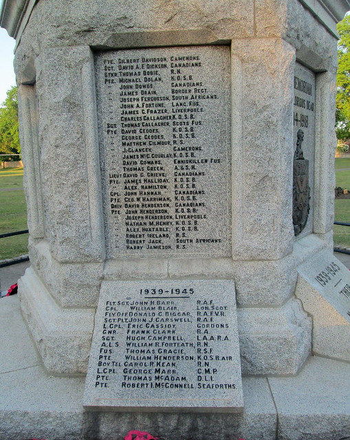 Names, Dalbeattie War Memorial